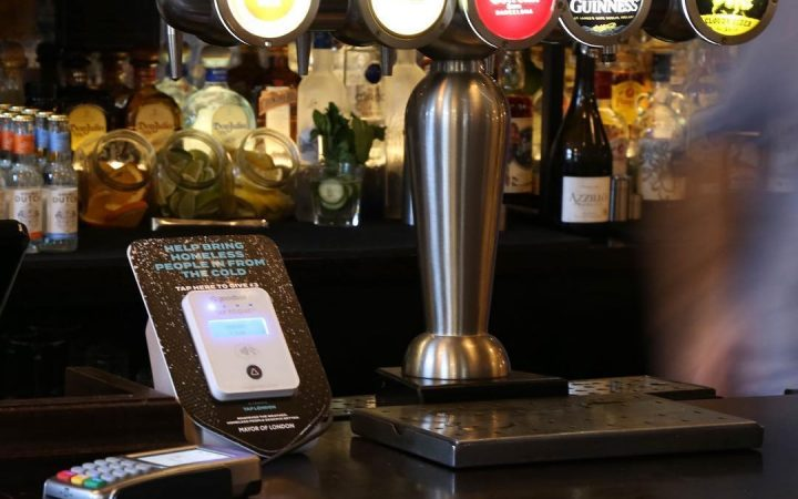 TAP donation point at a London pub