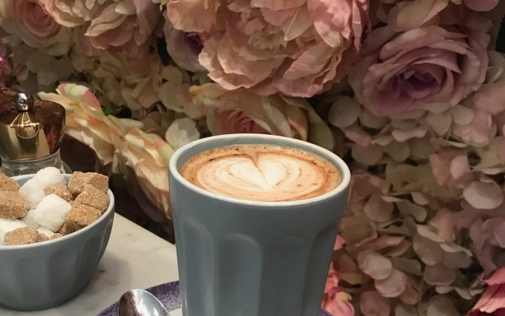 Latte and flower wall
