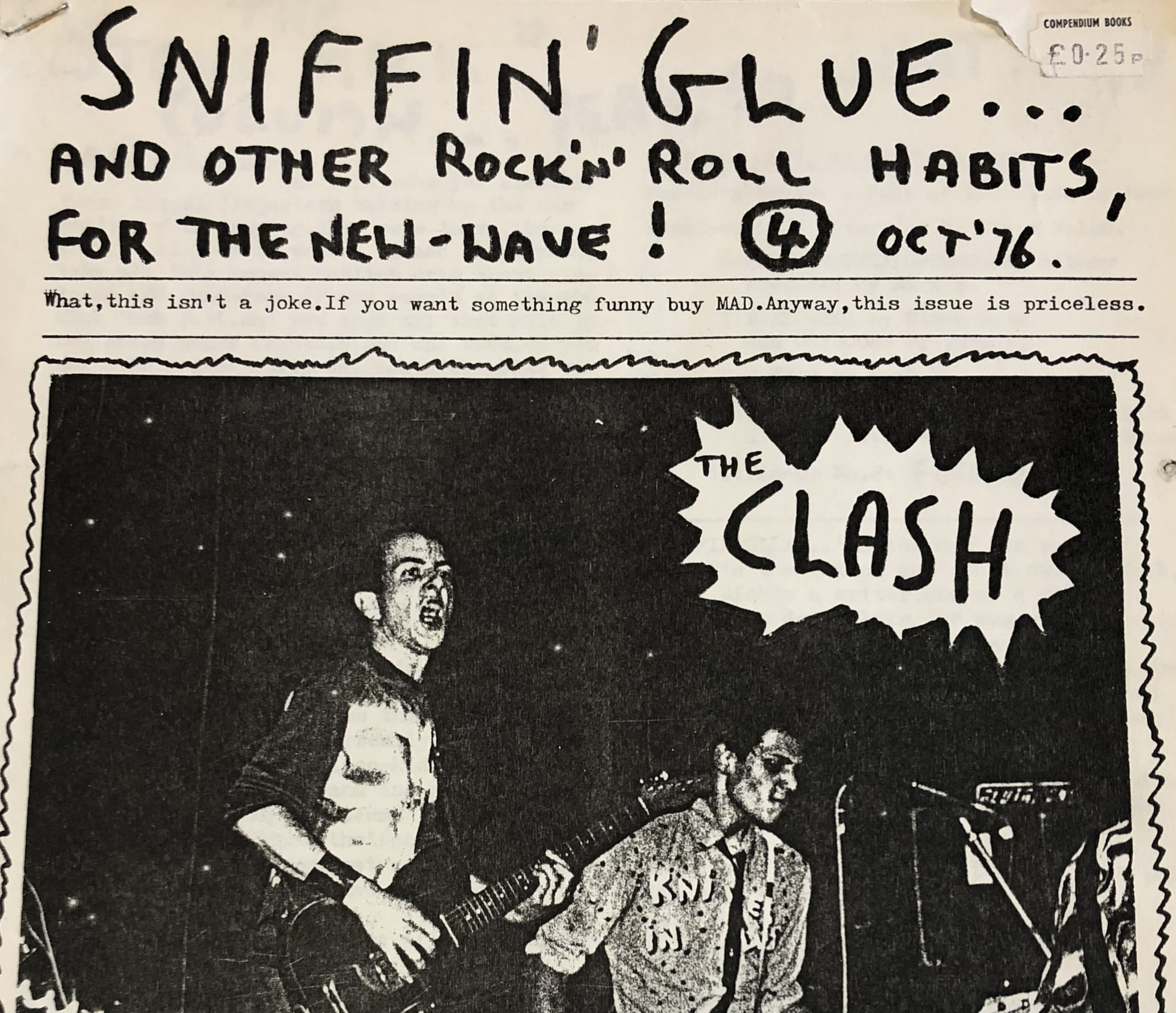The title page of Issue 4 of Sniffin' Glue, featuring a photo of the Clash.
