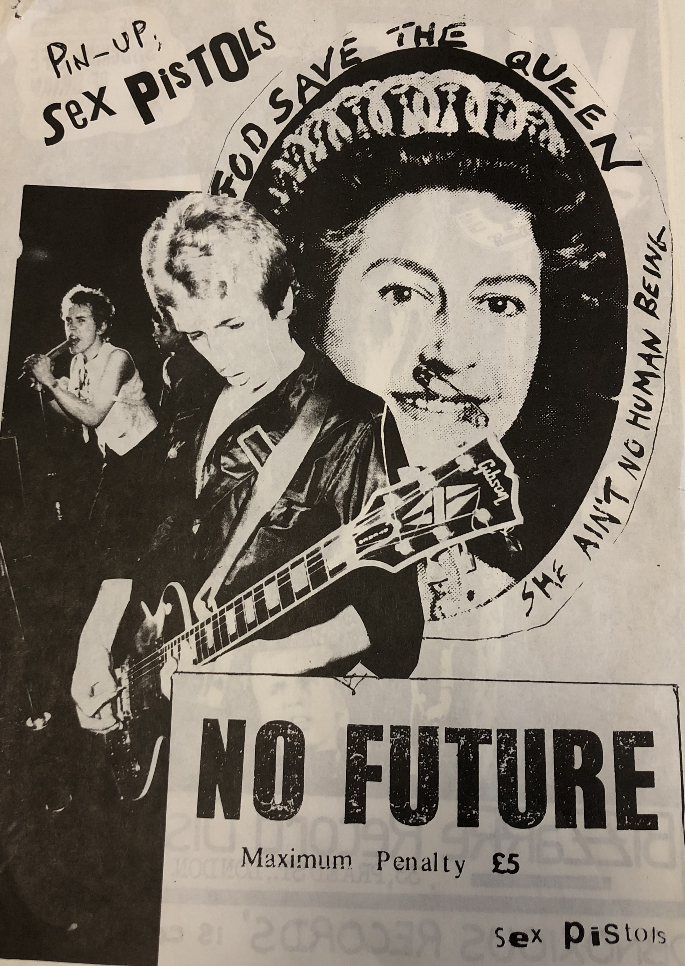 A poster featuring a collage of images of the Sex Pistols and Queen Elizabeth with the words 'No Future' sprawled across the page.
