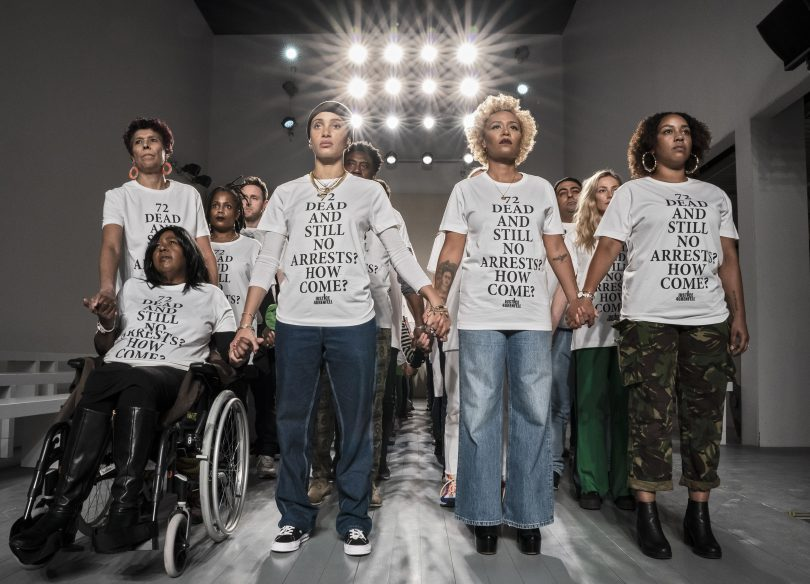 72 activists take to London Fashion Week to protest for accountability for the fire