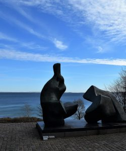 Henry Moore's sculpture with ocean view