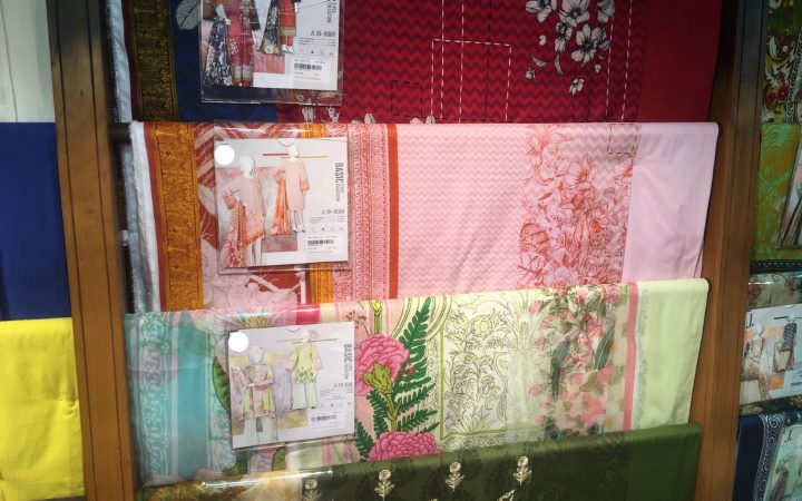 A picture of fabrics, which will be used for modest clothing to be made out of.