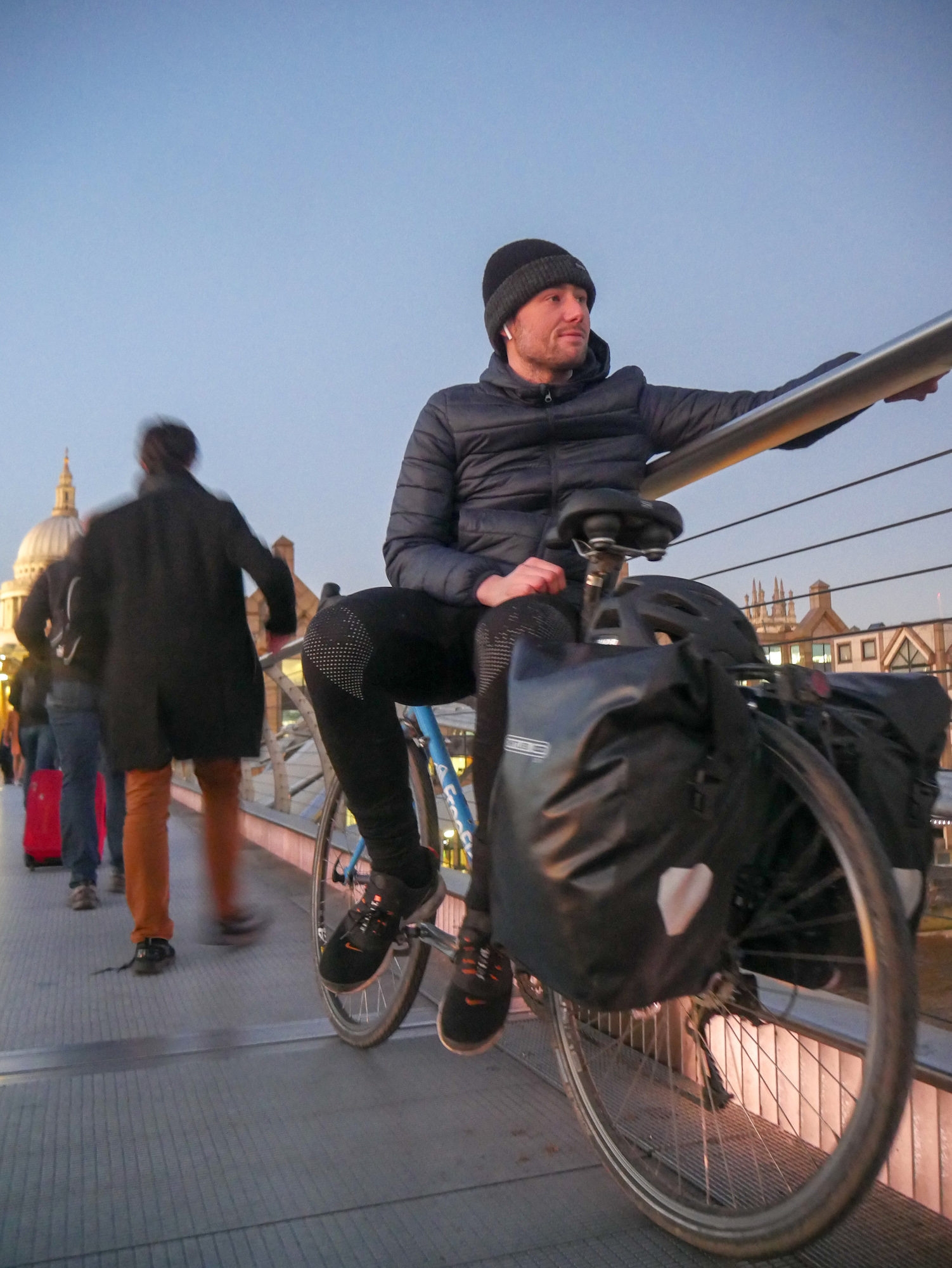 Joshua takes in the views from Millennium bridge