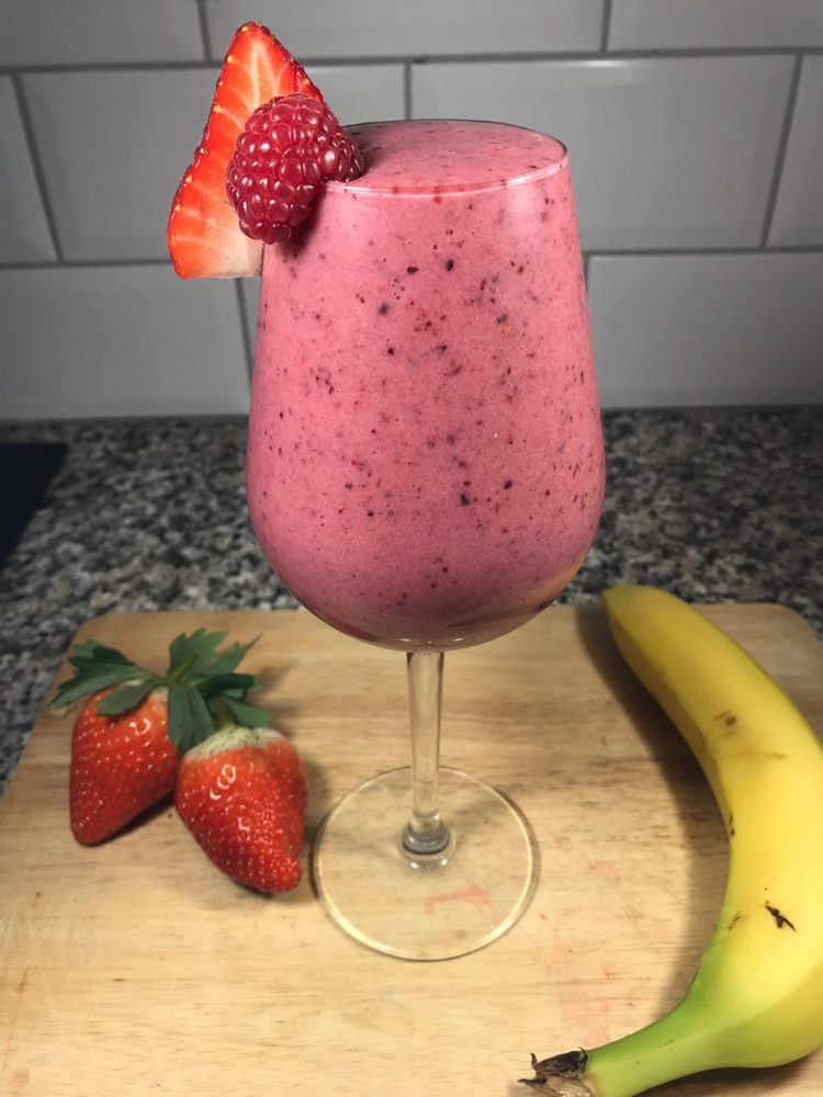 Luke O'Nien's Home-made smoothie with berries and bananas.