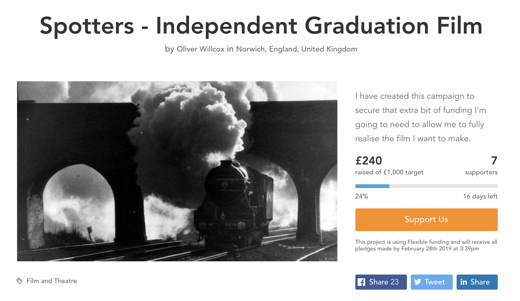 Crowdfunder page for 'Spotters' Screenshot.