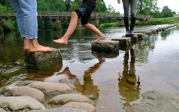 'Small Steps' a Childs journey along stepping stones/