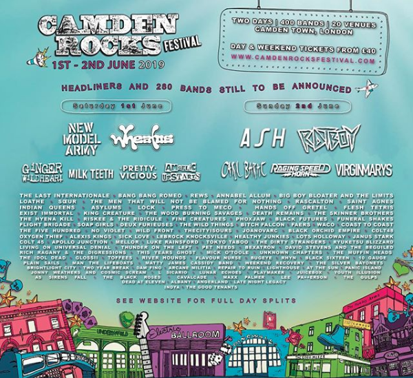 Line up for Camden Rocks