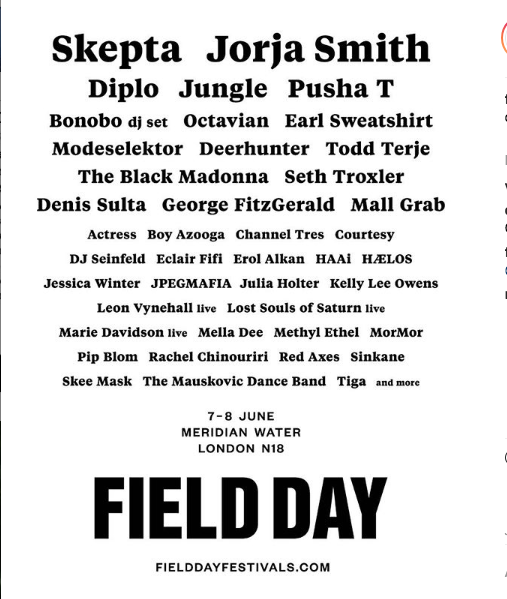 Field Day Initial Line up