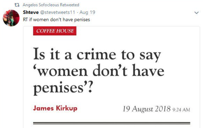 """Tweet by Sofocleous reading """"RT [retweet] if women don't have penises."""""""