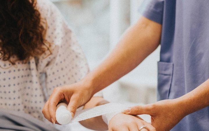 Bandage on arm at Hospital