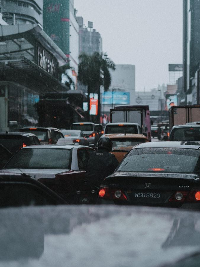 Traffic Jam in rain in Kuala Lumpur