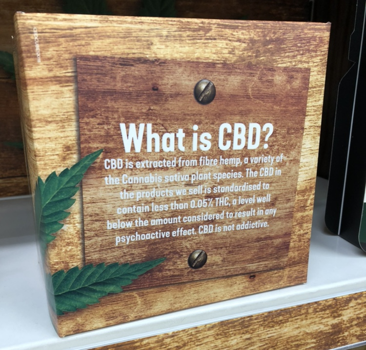 An informative display about CBD oil in a Holland & Barrett store.