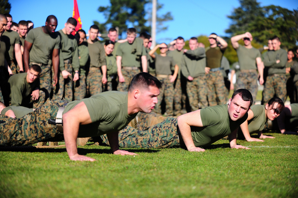 Commandos doing push ups in training