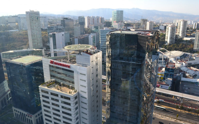 The view looking southward, 60-floors skyward.