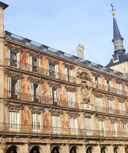Vibrant Plaza de Mayor building in Madrid