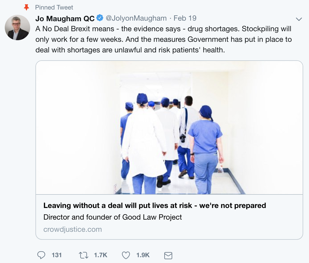 Tweet from Jolyon Maugham about the impact Brexit will have on drug shortages