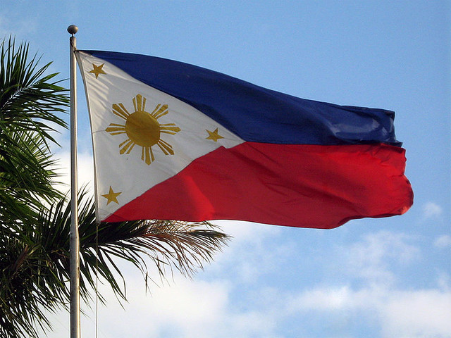 Flag of the Philippines in the sky