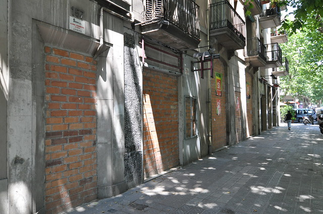 A walled up house in Barcelona occupied by squatters