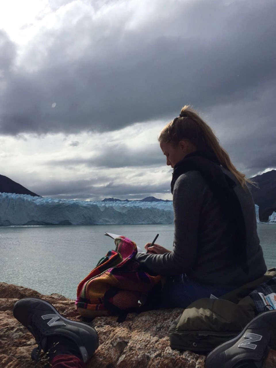 marta at a glacier