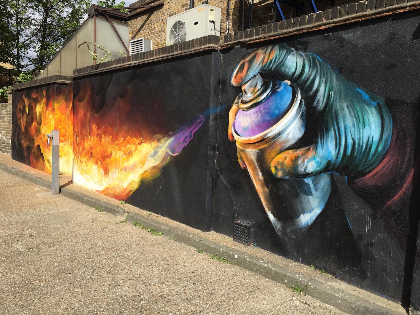 spray can grafitti on wall
