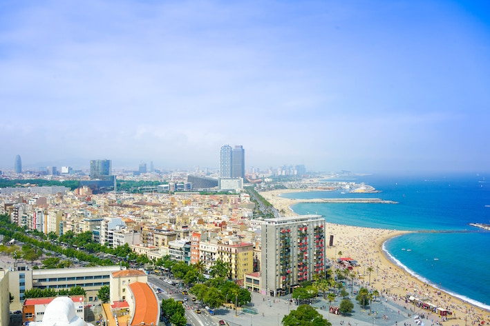 cityscape of barcelona beach