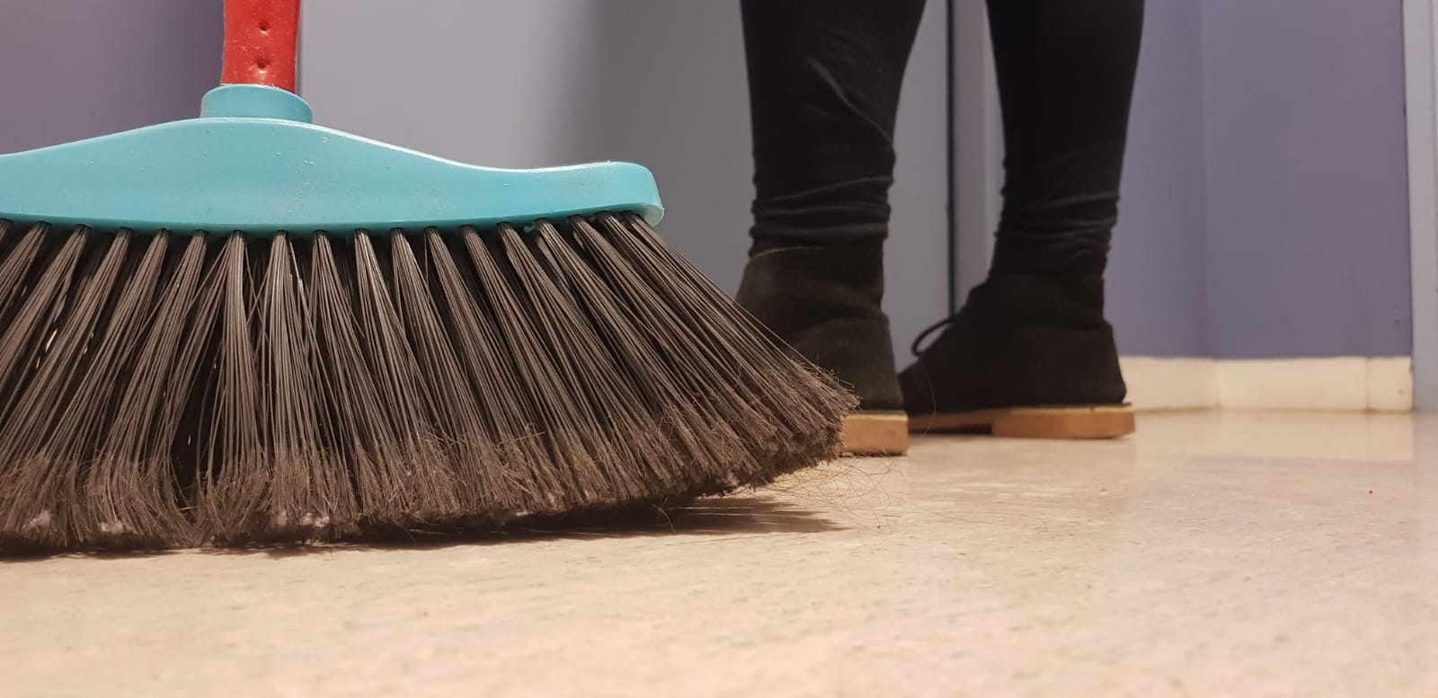 a broom on the floor