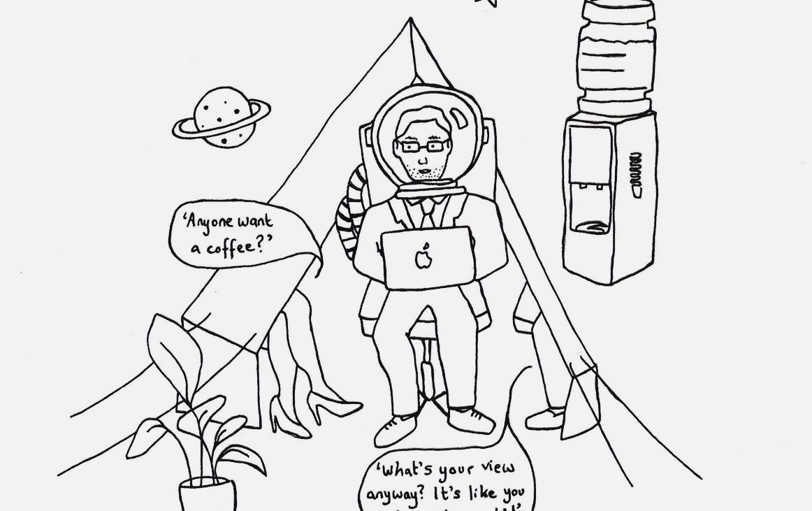 An illustration showing a man daydreaming whilst at work. Whilst his co-workers ask what he is thinking about, the man explores space inside his mind.
