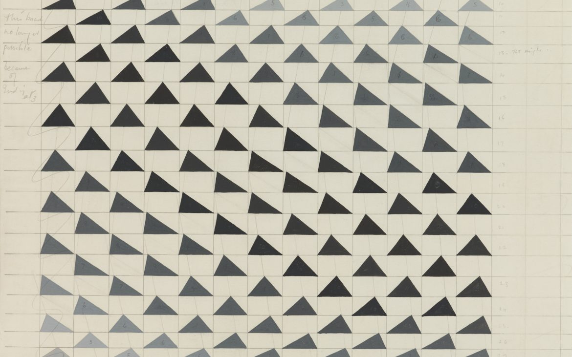 A black and white artwork with triangular shapes