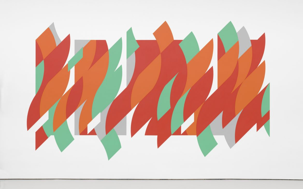 An abstract painting with red, orange and green curved shapes