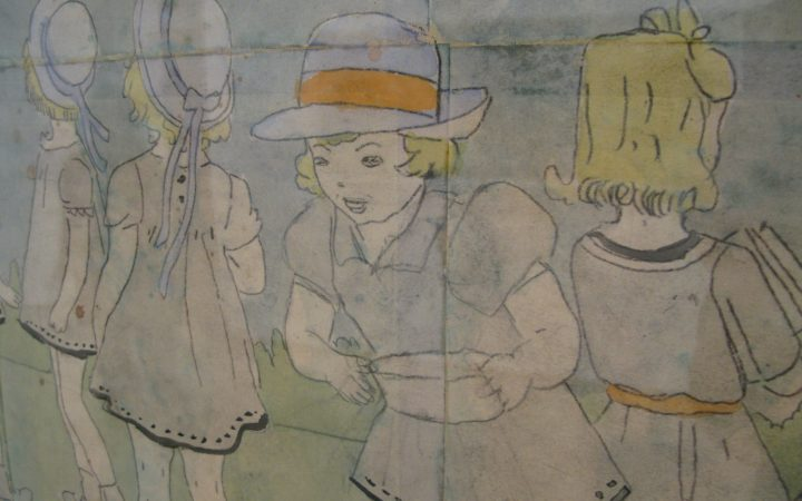 A close up image of an example of Darger's work. His work made heavy use of children, in this image there are three.