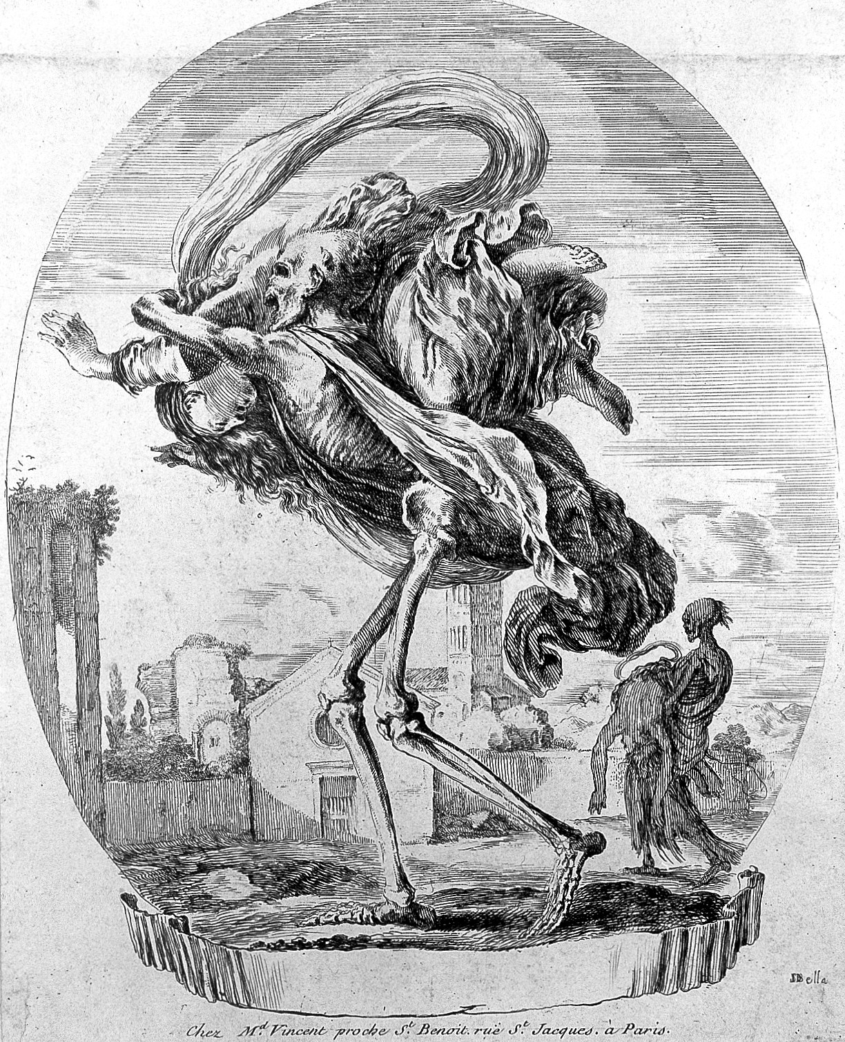 A etching of a skeleton carrying a women on his shoulders. Taken from istock images.