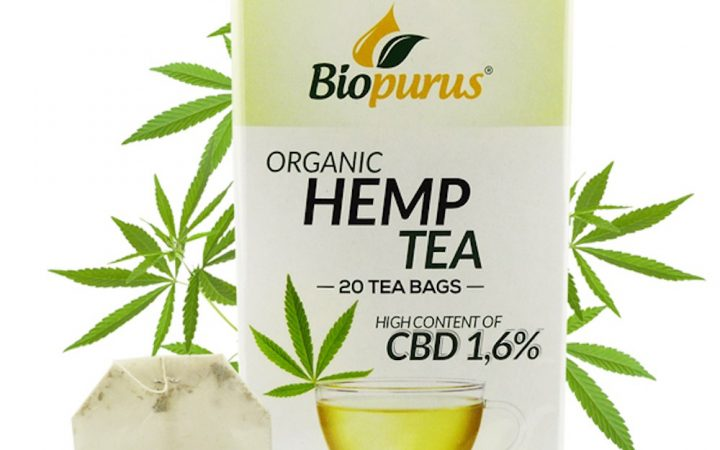Box of organic hemp tea from Biopurus, with 1,6% CBD