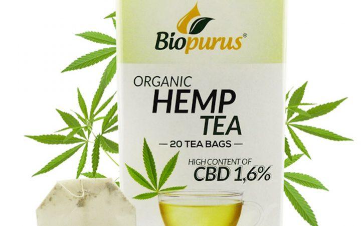 Box of organic hemp tea from Biopurus, with 1,6% CBD