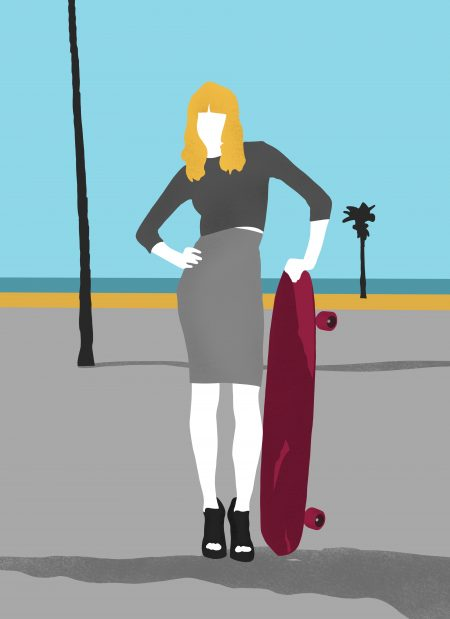 Women posing in inappropriate clothing with a skateboard