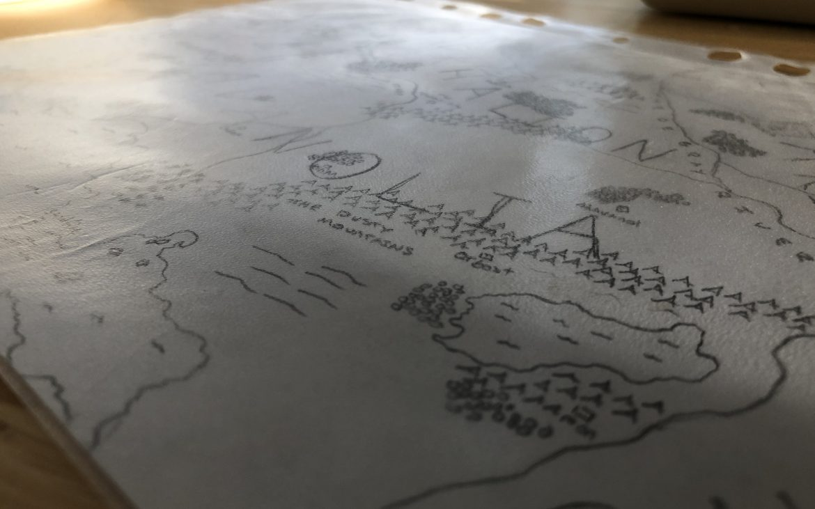 Detail of a map drawn by the author during his childhood detailing his Paracosm