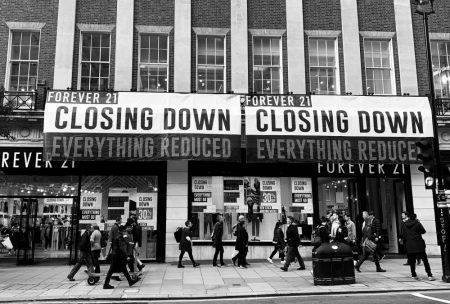 Forever 21 closing down sign in Oxford Street.