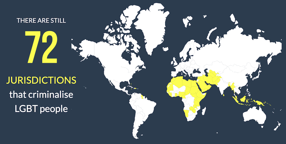 Infographic of a map highlighting the 72 countries where LGBT people are still criminalised