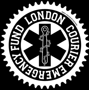 Black and white London Courier Emergency Fund logo.