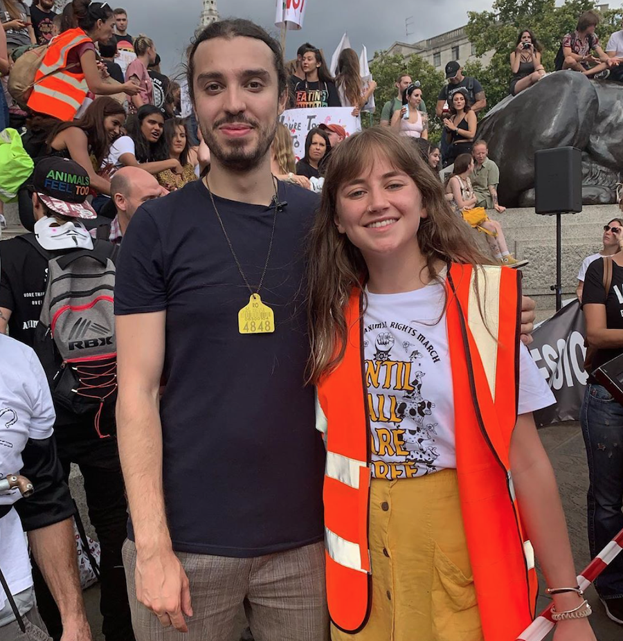 Lauren standing with Earthling Ed and other protesters at Trafalgar Square