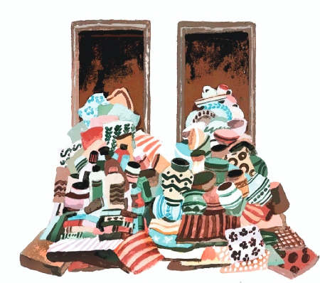 A pastel coloured illustration of hoarded items spilling out of two doors.