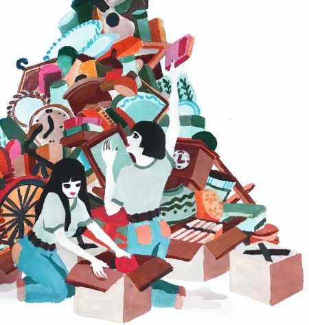 A pastel coloured illustration of two women attempting to sort through a pile of hoarded items.