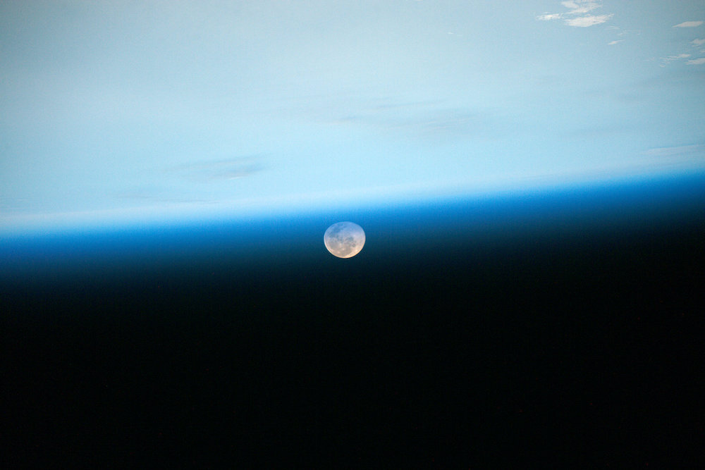 An image of the moon beyond earths atmosphere