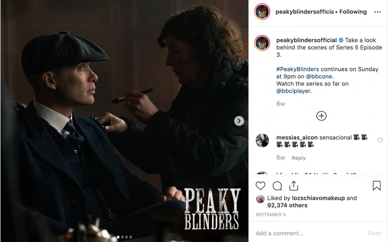 Screenshot of Instagram post showing Loz doing Cillian Murphy's makeup