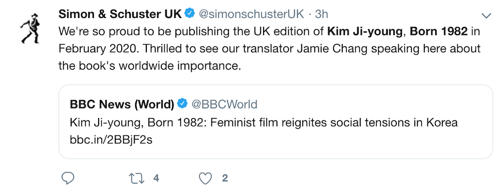 Tweet from Simon & Schuster UK reading: We're so proud to be publishing the UK edition of Kim Ji-young, Born 1982 in February 2020.