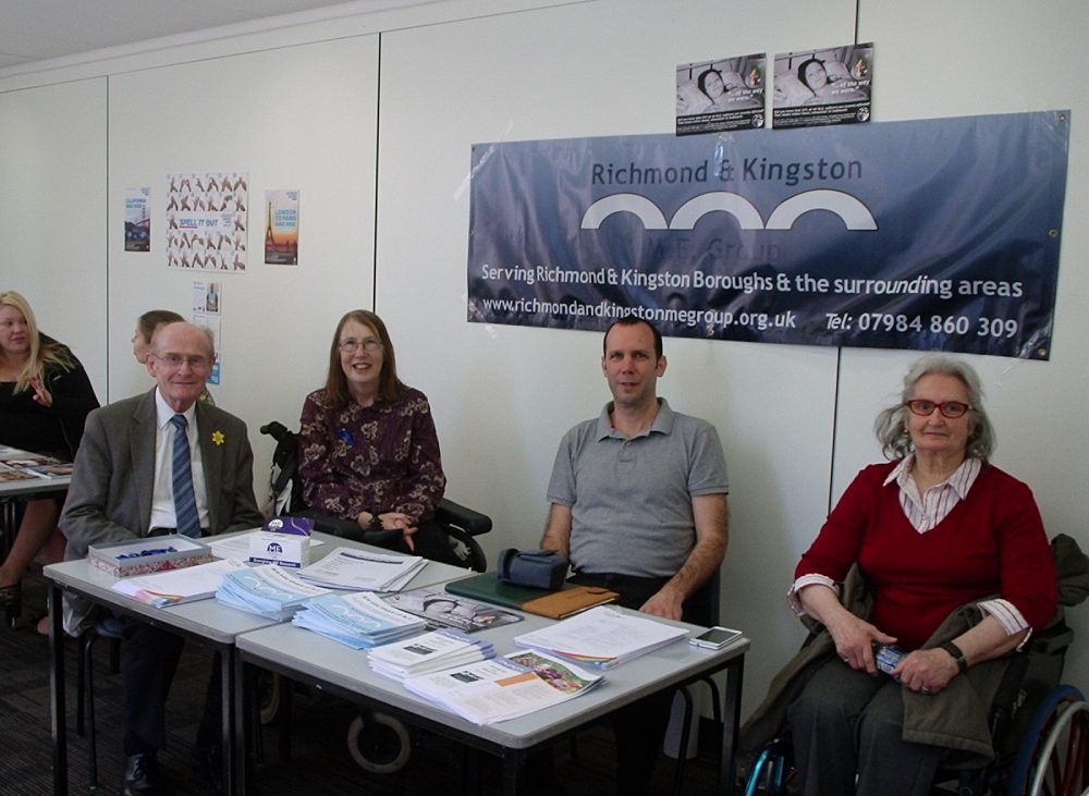 Members of the Richmond and Kingston ME support group holding a stall at Kingston University