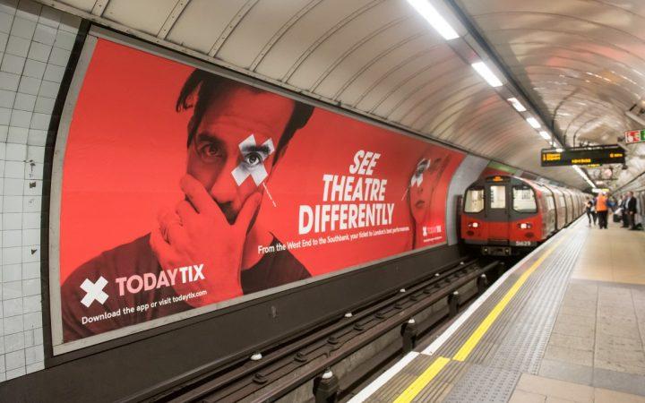 Advert for Today Tix on underground platform