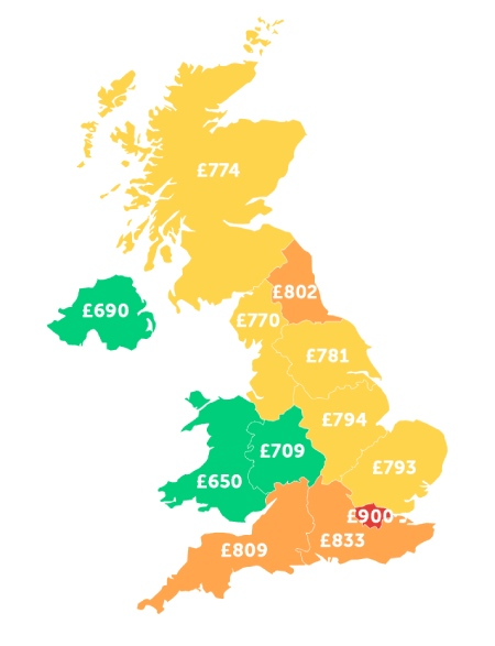 A colour coded map of the UK detailing the average living costs of students in each region, with red detailing the highest costs in London; amber showing slightly lower costs in South East England, South West England and North East England, yellow showing median costs across the majority of England and Scotland; and green showing the lowest costs in Mid West England, Wales and Northern Ireland.