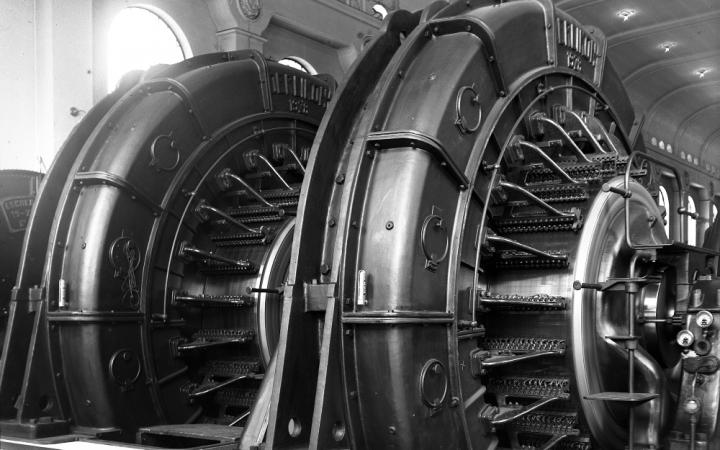 A turbine inside a WW2 hydroelectric power plant