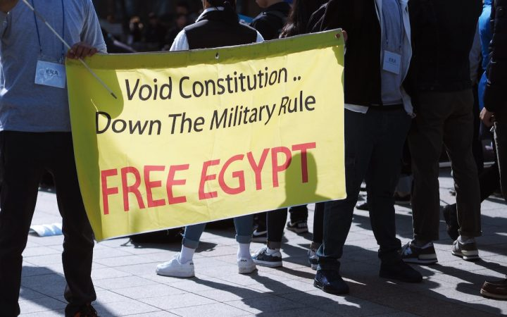"""Banner with the text: """"Void Constitution, Down The Military Rule - Free Egypt"""""""